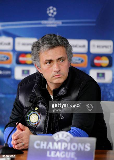 Head coach Jose Mourinho of FC Internazionale Milano listens to questions during a press conference ahead of their second leg quarter final match...