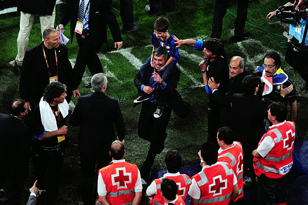 Head coach Jose Mourinho of Inter Milan celebrates his team's victory at the end of the UEFA Champions League Final match between FC Bayern Muenchen...