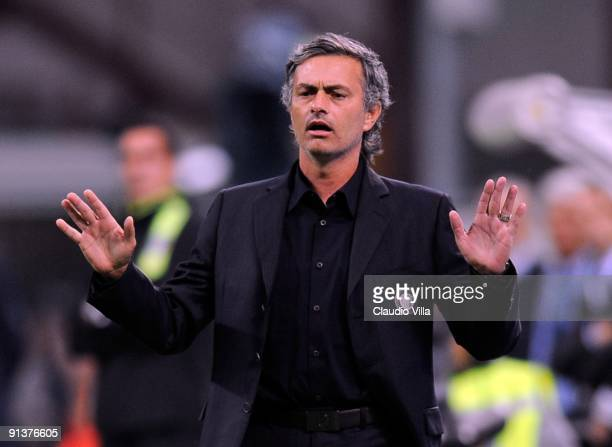 Head coach Jose Mourinho of Inter Milan gestures during the Serie A match between FC Internazionale Milano and Udinese Calcio at Stadio Giuseppe...