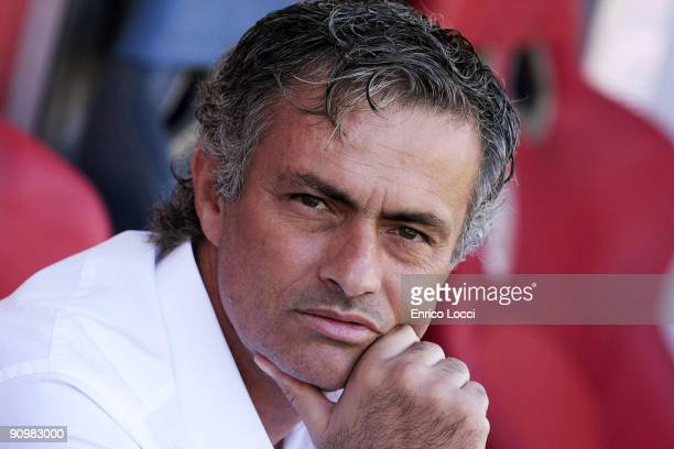 Head Coach Jose Mourinho of Inter Milan looks on during the Serie A match between Cagliari and inter at Stadio Sant'Elia on September 20 2009 in...