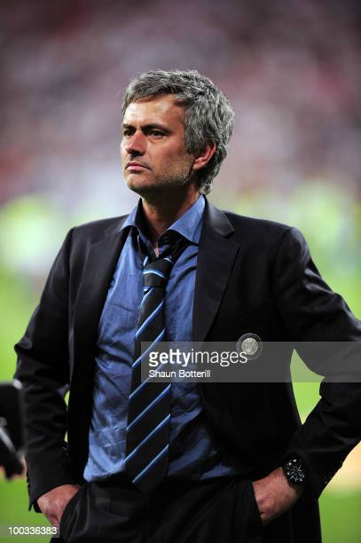 Head coach Jose Mourinho of Inter Milan reacts after their team's victory at the end of the UEFA Champions League Final match between FC Bayern...