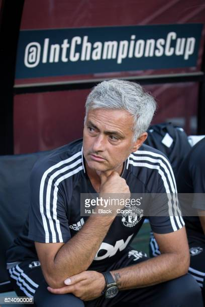 Head Coach Jose Mourinho of Manchester United at the start of the International Champions Cup match between FC Barcelona and Manchester United at the...