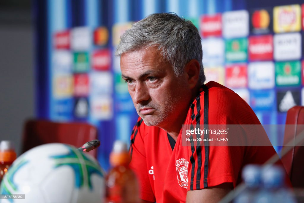 Head coach Jose Mourinho of Manchester United attends the press conference ahead of the UEFA Super Cup final match between Real Madrid and Manchester United at National Arena Filip II Macedonian on August 8, 2017 in Skopje, Macedonia.