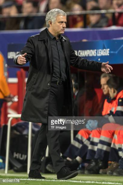 Head coach Jose Mourinho of Manchester United gestures during the UEFA Champions League Round of 16 First Leg match between Sevilla FC and Manchester...