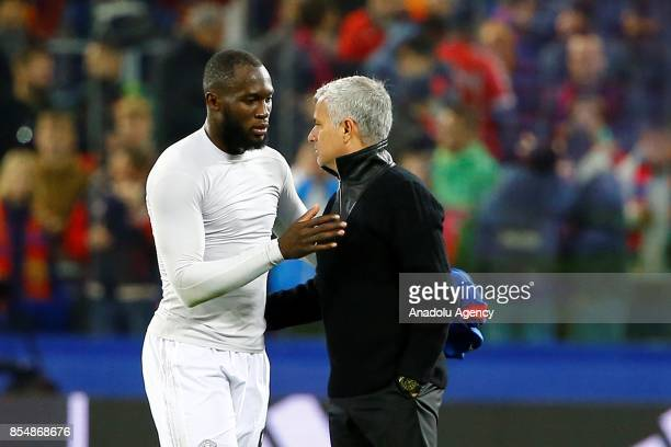 Head Coach Jose Mourinho of Manchester United handshake Romelu Lukaku after the match score the UEFA Champions League match between CSKA Moscow and...