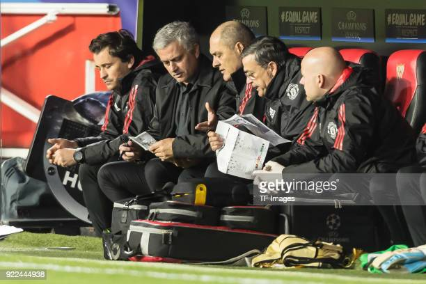 Head coach Jose Mourinho of Manchester United looks on prior to the UEFA Champions League Round of 16 First Leg match between Sevilla FC and...