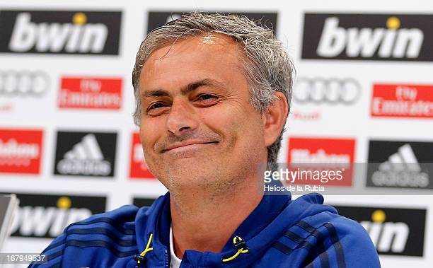 Head coach Jose Mourinho of Real Madrid attends a press conference at Valdebebas training ground on May 3 2013 in Madrid Spain