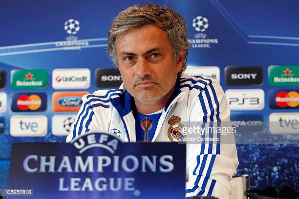 Head coach Jose Mourinho of Real Madrid attends a press conference on the eve their Champions League group G football match against AC Milan at...