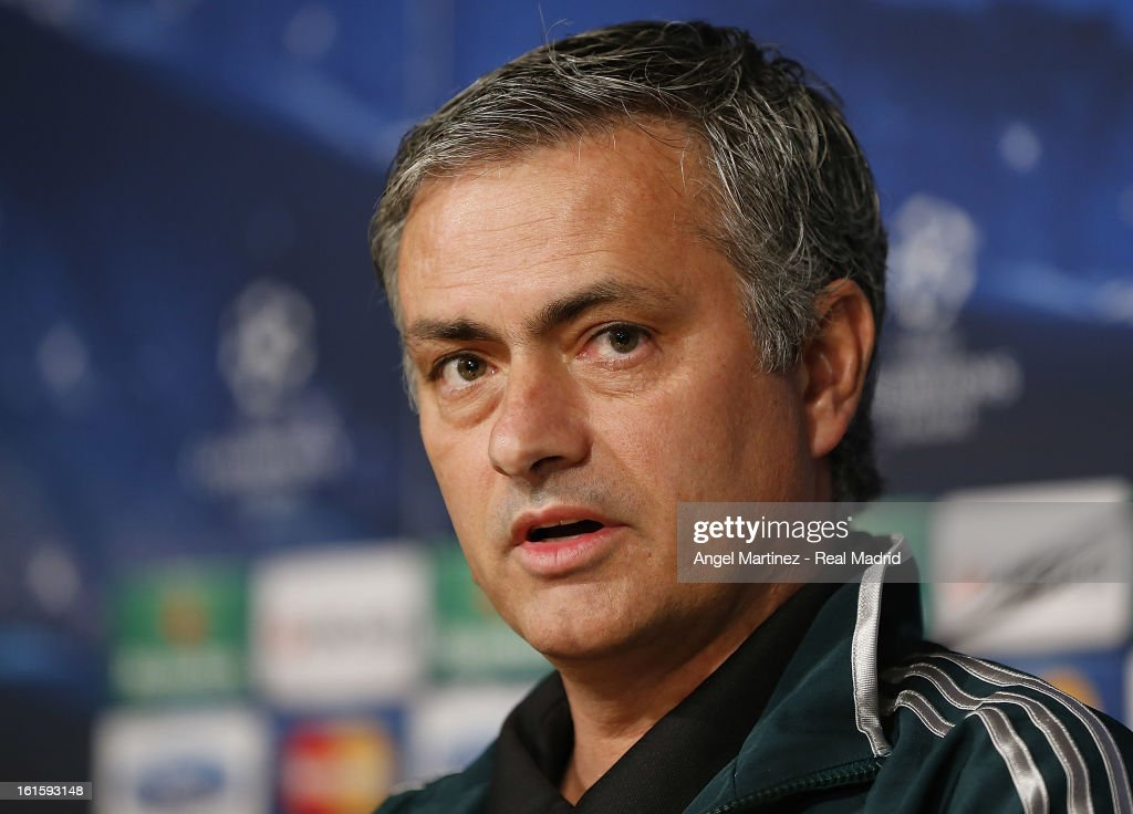 Head coach Jose Mourinho of Real Madrid attends a press conference ahead of the UEFA Champions League match between Real Madrid CF and Manchester United at Estadio Santiago Bernabeu on February 12, 2013 in Madrid, Spain.