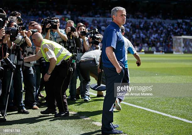 Head coach Jose Mourinho of Real Madrid CF complains to the press and the audience on his last match as head coach of Real Madrid CF team prior to...