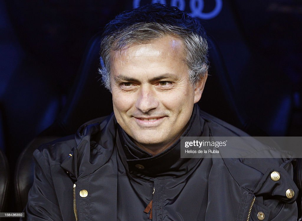 Head coach Jose Mourinho of Real Madrid gestures during the La Liga match between Real Madrid and RCD Espanyol at Santiago Bernabeu stadium on December 16, 2012 in Madrid, Spain.