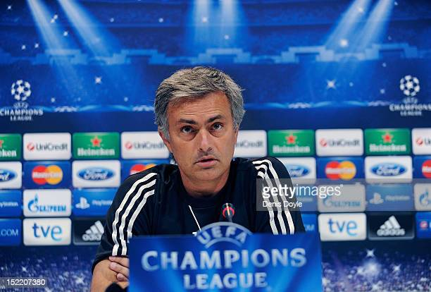 Head coach Jose Mourinho of Real Madrid gives a press conference ahead of his team's training session at Valdebebas training ground on September 17...