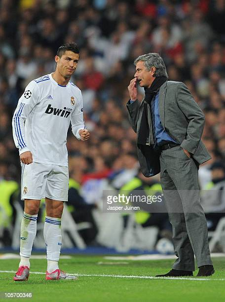 Head Coach Jose Mourinho of Real Madrid instructs Cristiano Ronaldo during the UEFA Champions League group G match between Real Madrid and AC Milan...