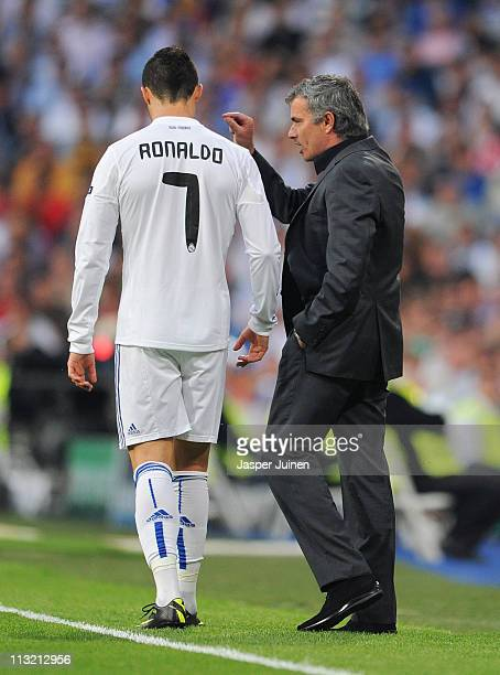 Head coach Jose Mourinho of Real Madrid instructs Cristiano Ronaldo during the UEFA Champions League Semi Final first leg match between Real Madrid...
