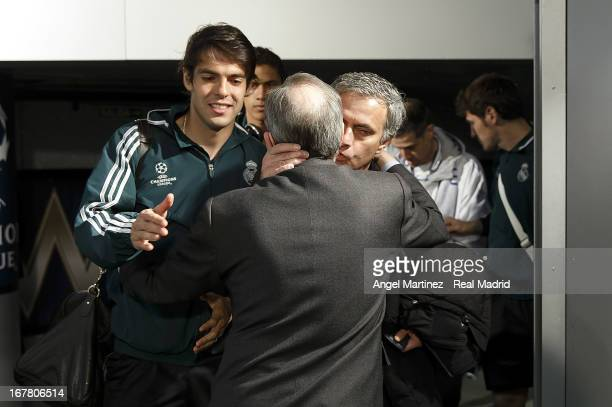 Head coach Jose Mourinho of Real Madrid kisses president Florentino Perez before the UEFA Champions League Semi Final second leg match between Real...