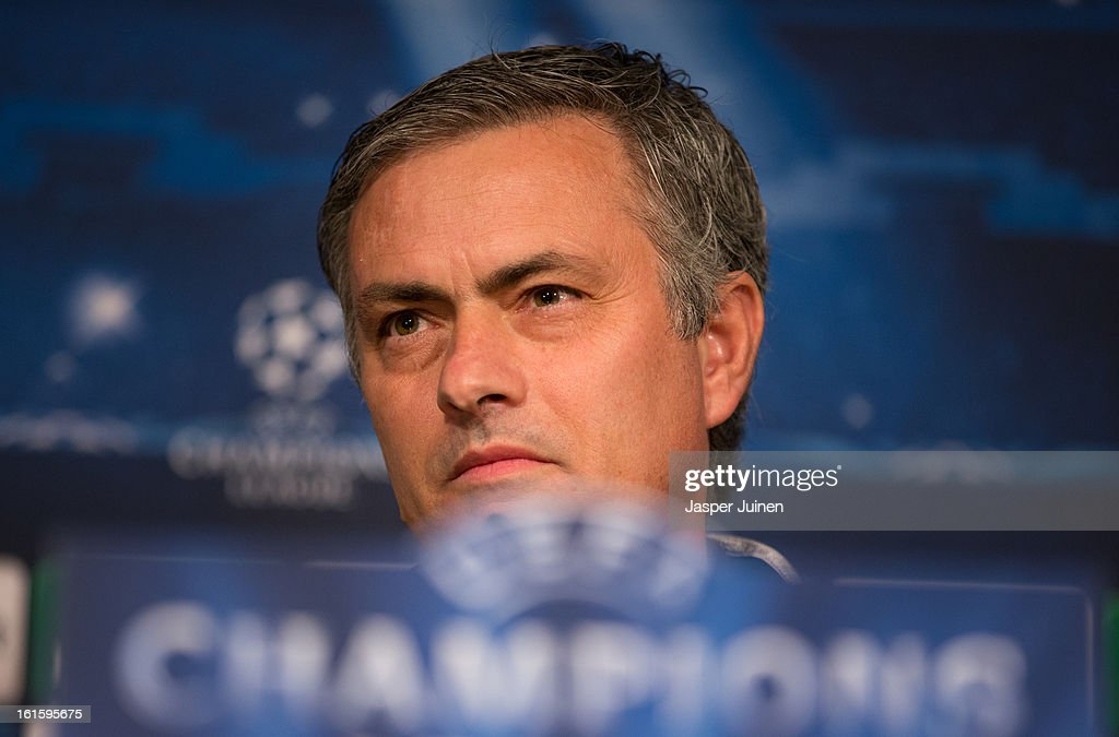 Head coach Jose Mourinho of Real Madrid listens to questions from the media during a press conference ahead of the UEFA Champions League match between Real Madrid CF and Manchester United at the Valdebebas training ground on February 12, 2013 in Madrid, Spain.