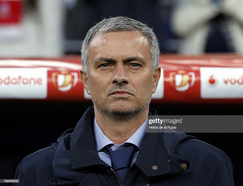 Head coach Jose Mourinho of Real Madrid look on during the Copa del Rey Final match between Real Madrid and Atletico de Madrid at Estadio Santiago Bernabeu on May 17, 2013 in Madrid, Spain.