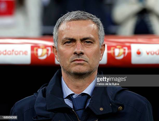 Head coach Jose Mourinho of Real Madrid look on during the Copa del Rey Final match between Real Madrid and Atletico de Madrid at Estadio Santiago...