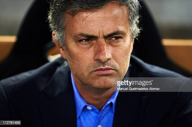 Head Coach Jose Mourinho of Real Madrid looks on before the Copa del Rey final match between Real Madrid and Barcelona at Estadio Mestalla on April...