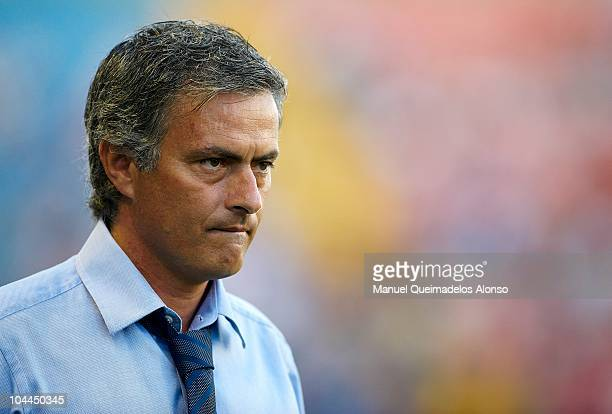 Head coach Jose Mourinho of Real Madrid looks on before the La Liga match between Levante UD and Real Madrid at Ciutat de Valencia on September 25...