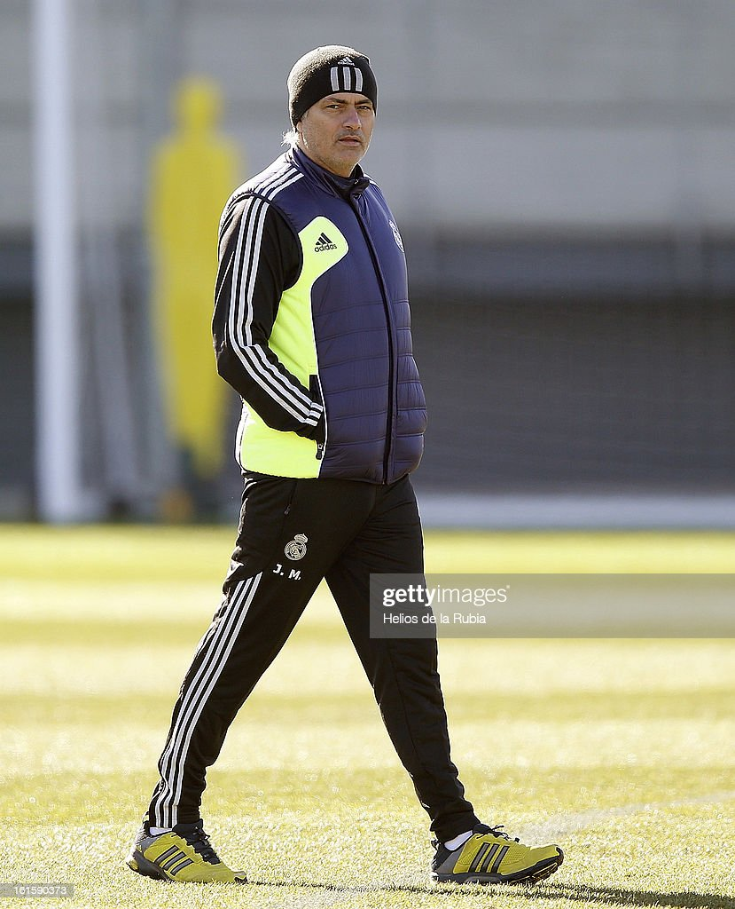 Head coach Jose Mourinho of Real Madrid looks on during a training session ahead of the UEFA Champions League match between Real Madrid CF and Manchester United at the Valdebebas training ground on February 12, 2013 in Madrid, Spain.