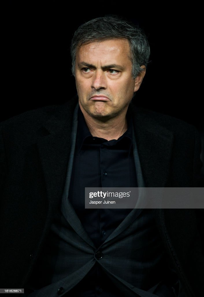 Head coach Jose Mourinho of Real Madrid looks on during the UEFA Champions League Round of 16 first leg match between Real Madrid and Manchester United at Estadio Santiago Bernabeu on February 13, 2013 in Madrid, Spain.