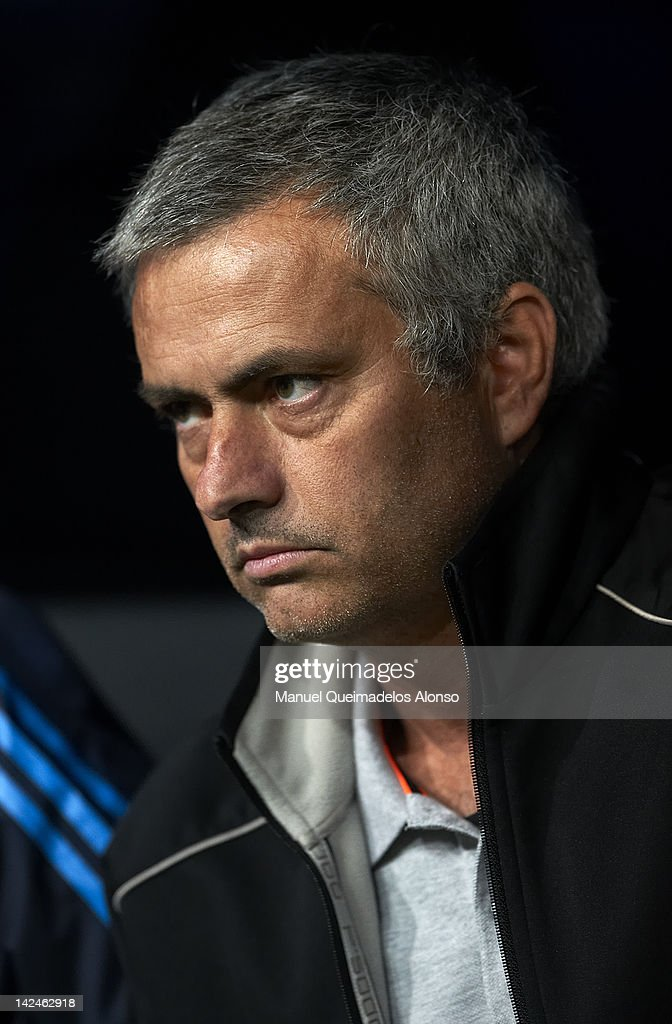 Head Coach Jose Mourinho of Real Madrid looks on prior to the start of the UEFA Champions League quarter-final second leg match between Real Madrid and APOEL FC at Bernabeu on April 4, 2012 in Madrid, Spain.