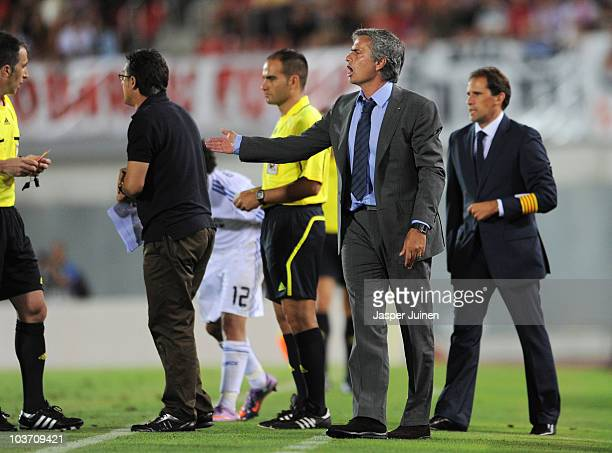 Head coach Jose Mourinho of Real Madrid reacts during the La Liga match between Mallorca and Real Madrid at the ONO Estadio on August 29 2010 in...