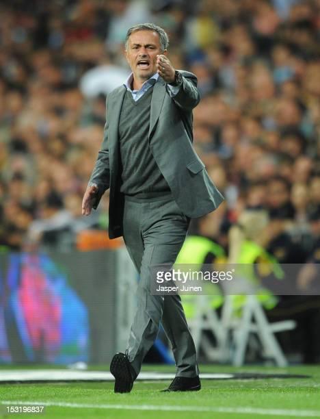 Head coach Jose Mourinho of Real Madrid reacts during the la Liga match between Real Madrid CF and RC Deportivo La Coruna at the Santiago Bernabeu...