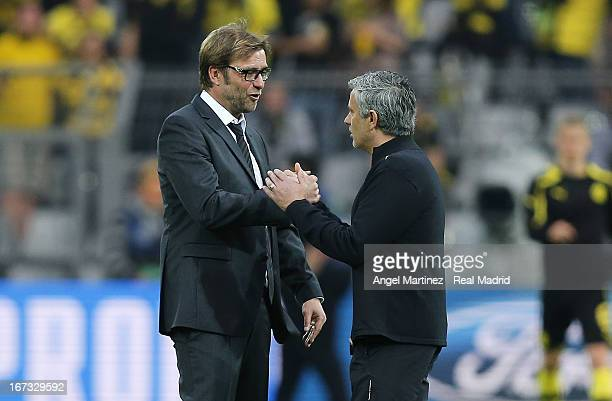 Head coach Jose Mourinho of Real Madrid shakes hands with Head coach Jurgen Klopp of Borussia Dortmund before the UEFA Champions League Semi Final...