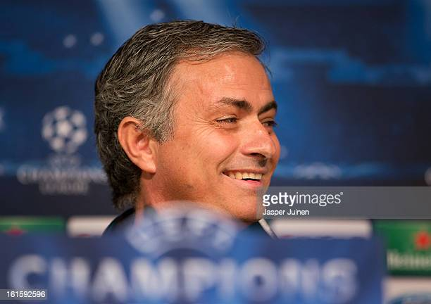 Head coach Jose Mourinho of Real Madrid smiles as he speaks to the media during a press conference ahead of the UEFA Champions League match between...