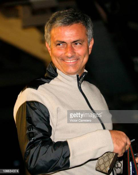 Head coach Jose Mourinho of Real Madrid smiles during the presentation of Real Madrid's new cars made by Audi at Estadio Santiago Bernabeu on...
