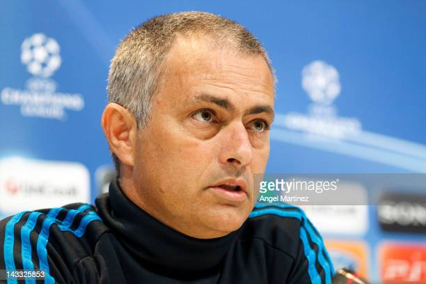Head coach Jose Mourinho of Real Madrid talks to the media during a press conference ahead of the UEFA Champions League Semi Final second leg match...