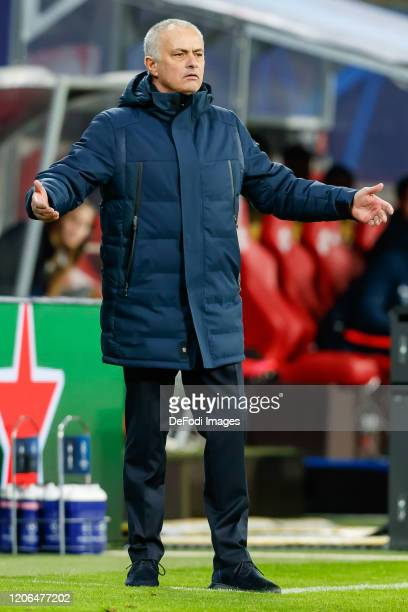 head coach Jose Mourinho of Tottenham Hotspur gestures during the UEFA Champions League round of 16 second leg match between RB Leipzig and Tottenham...