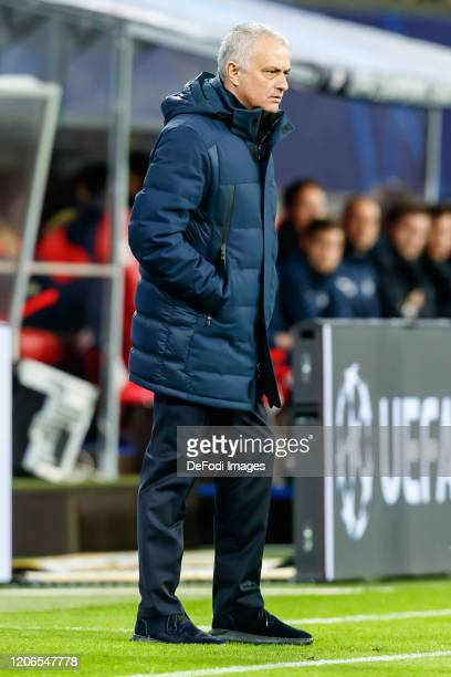 head coach Jose Mourinho of Tottenham Hotspur looks on during the UEFA Champions League round of 16 second leg match between RB Leipzig and Tottenham...