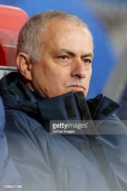 head coach Jose Mourinho of Tottenham Hotspur looks on prior to the UEFA Champions League round of 16 second leg match between RB Leipzig and...