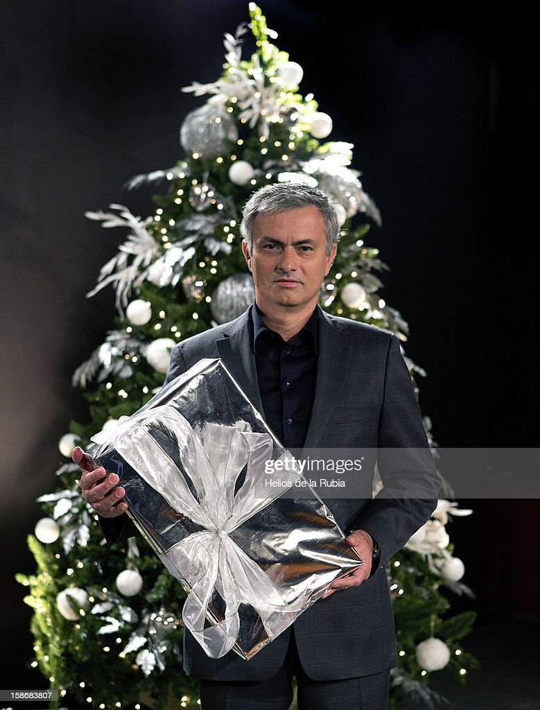 Head coach Jose Mourinho poses during a Real Madrid Christmas portrait session at Estadio Santiago Bernabeu on December 23, 2012 in Madrid, Spain.