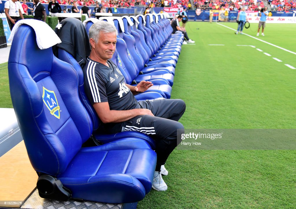 Head Coach Jose Mourinho waits before the match against the Los Angeles Galaxy at StubHub Center on July 15, 2017 in Carson, California.