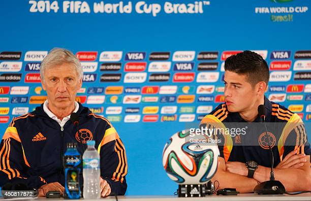 Head Coach Jose Néstor Pekerman and James Rodriguez of Colombia during the press conference ahead of the Group C match between Colombia and Cote...