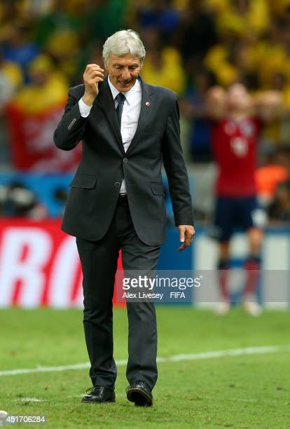 Head coach Jose Pekerman of Colombia gestures during the 2014 FIFA World Cup Brazil Quarter Final match between Brazil and Colombia at Estadio...
