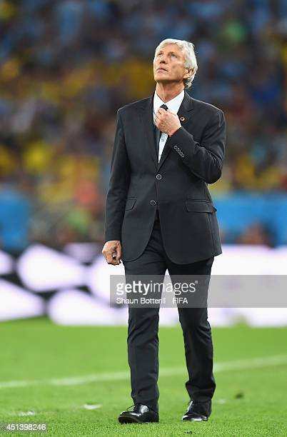 Head coach Jose Pekerman of Colombia looks on during the 2014 FIFA World Cup Brazil Round of 16 match between Colombia and Uruguay at Maracana on...