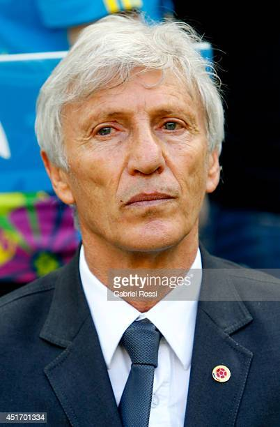 Head coach Jose Pekerman of Colombia looks on during the 2014 FIFA World Cup Brazil Quarter Final match between Brazil and Colombia at Castelao on...