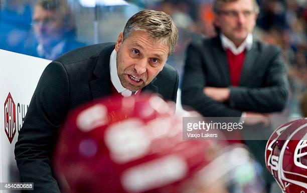 Head coach Josef Jandac of Sparta Prague gestures during the Champions Hockey League group stage game between Vaxjo Lakers and Sparta Prague on...