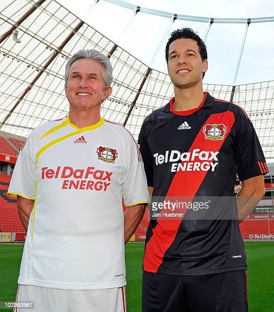 Head coach Josef Jupp Heynckes and Michael Ballack pose during the Bayer Leverkusen team presentation at Bayarena Stadium on July 20 2010 in...