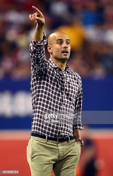 Head coach Josep Guardiola abd Matthias Sammer afterthe friendly match between CD Guadalajara and FC Bayern Muenchen at Red Bull Arena on July 31,...