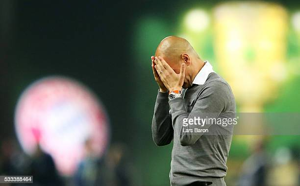Head coach Josep Guardiola cries after winning the DFB Cup Final 2016 between Bayern Muenchen and Borussia Dortmund at Olympiastadion on May 21 2016...
