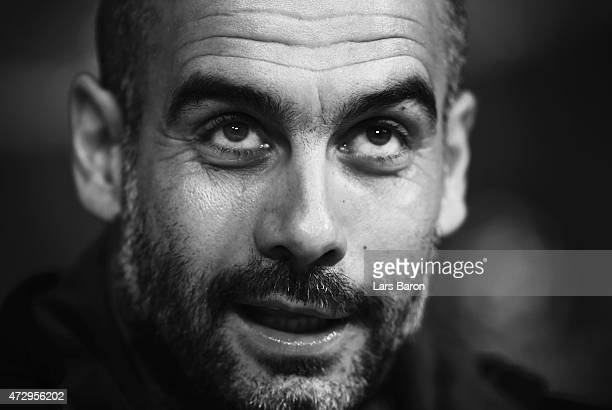 Head coach Josep Guardiola is seen during a Bayern Muenchen press conference on the eve of the UEFA Champions League semi final second leg match...