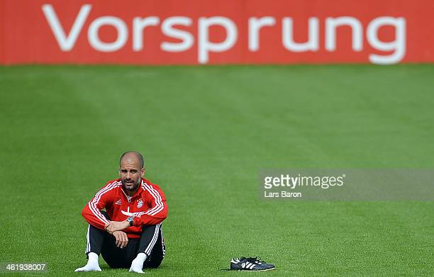 Head coach Josep Guardiola is seen during a training session at day 8 of the Bayern Muenchen training camp at ASPIRE Academy for Sports Excellence on...