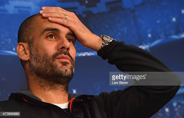 Head coach Josep Guardiola looks on during a Bayern Muenchen press conference on the eve of the UEFA Champions League semi final second leg match...