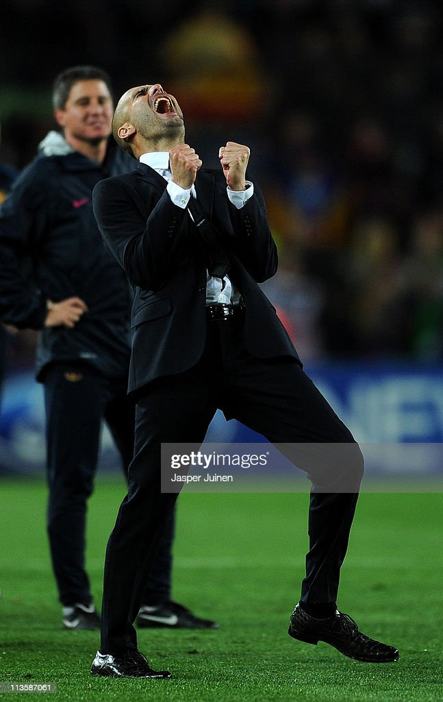 Head coach Josep Guardiola of Barcelona celebrates at the end of the UEFA Champions League Semi Final second leg match between Barcelona and Real Madrid at the Camp Nou stadium on May 3, 2011 in Barcelona, Spain.